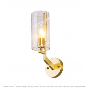 American Copper Single Head Straight Glass Wall Lamp Citilux