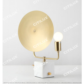 Copper Jazz White Marble Bedside Table Lamp Citilux