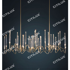 Stereo Icicle Multi-Head Chandelier Gold Citilux