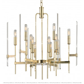 Simple Line Crystal Tube Shape Chandelier Small Gold Citilux