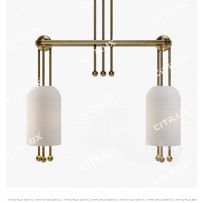 Full Copper Threaded Milk White Glass Double Head Chandelier Citilux