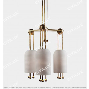 Full Copper Thread Milk White Glass Three Chandelier Citilux