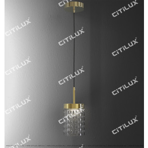 Stainless Steel Textured Glass Cover Engraved Single-Tier Small Chandelier Citilux