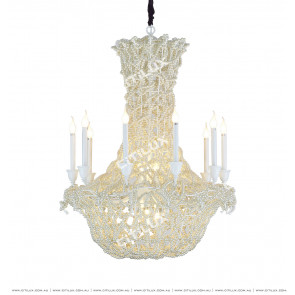 Postmodern Classical High-End White Beaded Bird Cage Pendant Light Citilux