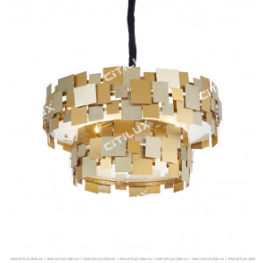 Modern Irregular Double-Tier Metal Piece Creative Chandelier Citilux