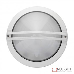 Astra Round Guard 240V Wall Light White Finish E27 DOM