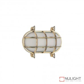 Marina 20Cm Caged Oval 240V Wall Light Brass Finish E27 DOM
