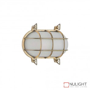 Marina 24Cm Caged Oval 240V Wall Light Brass Finish E27 DOM