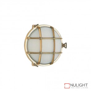 Marina 19Cm Caged Round 240V Wall Light Brass Finish E27 DOM