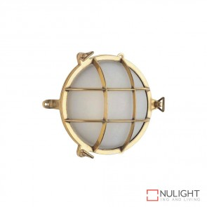 Marina 21Cm Caged Round 240V Wall Light Brass Finish E27 DOM