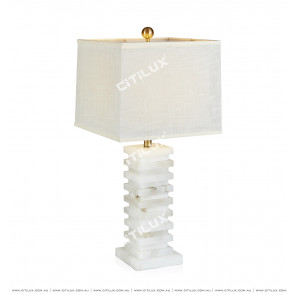 Spanish Marble Table Lamp In White Marble Citilux