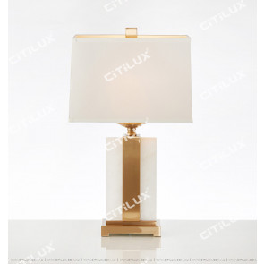 Spanish Marble Table Lamp In White And Gold Citilux