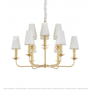 American Copper Fabric 12 Lights Chandelier Citilux