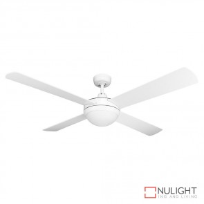 Brisk 52 Inches Plywood Blades Ceiling Fan And Light Satin White Finish E27 DOM