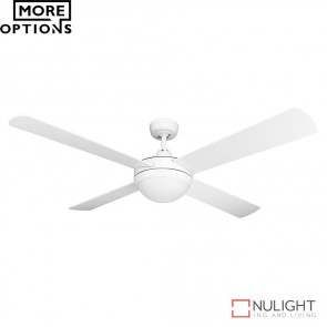 Brisk 52 Inches Plywood Blades Ceiling Fan And Led Light Satin White Finish Led DOM