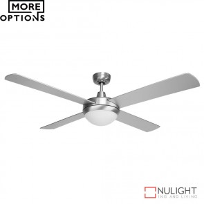 Brisk 52 Inches Plywood Blades Ceiling Fan And Led Light Silver Finish Led DOM