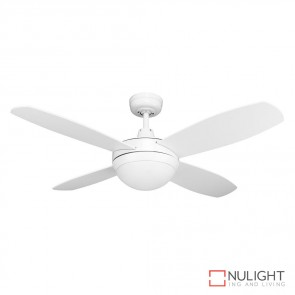 Brisk 42 Inches Plywood Blades Ceiling Fan And Light Satin White Finish E27 DOM