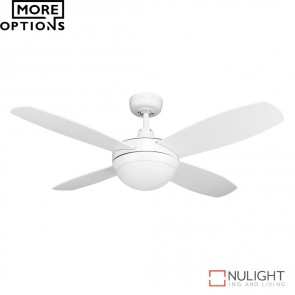 Brisk 42 Inches Plywood Blades Ceiling Fan And Led Light Satin White Finish Led DOM
