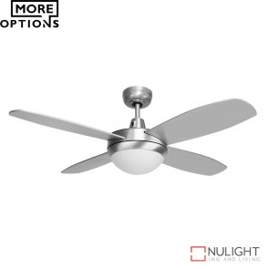 Brisk 42 Inches Plywood Blades Ceiling Fan And Led Light Silver Finish Led DOM