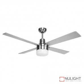 Windy 48 Inches Plywood Blade Ceiling Fan And Light Brushed Nickel And Silver Finish E27 DOM