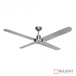 Viento 48 Inches Steel Blade Ceiling Fan Stainless Steel And Brushed Nickel Finish DOM