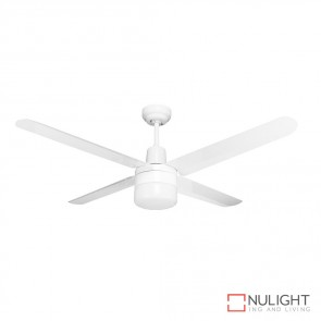 Viento 48 Inches Steel Blade Ceiling Fan And Light White Finish E27 DOM