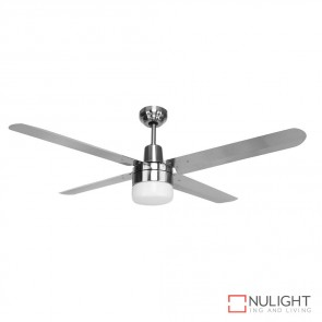 Viento 48 Inches Steel Blade Ceiling Fan And Light Stainless Steel And Brushed Nickel Finish E27 DOM