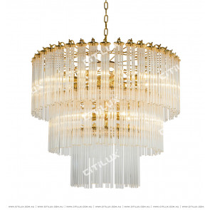 Transparent Glass Column 15 Lights Chandelier Citilux