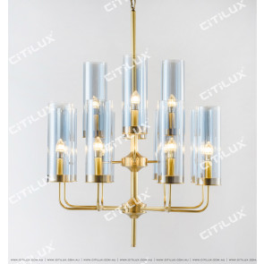 Stainless Steel Blue Glass Chandelier Citilux