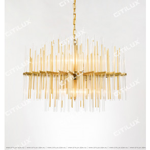 Full Copper Glass Line Modern Chandelier Citilux