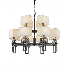 Asian Black Fabric Chinese Chandelier Citilux