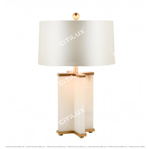 Spanish Marble Table Lamp With White Shade Citilux