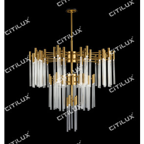 Modern Brushed Titanium Stainless Steel Glass Chandelier Citilux