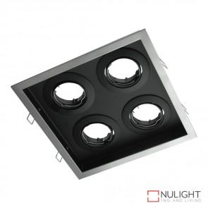 Dsl 1014Sq Square Slotter Four Light Downlight Frame Silver Frame DOM