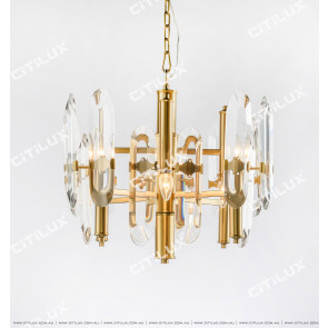 Transparent Crystal Stainless Steel Titanium Small Chandelier Citilux