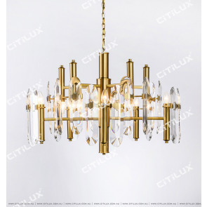 Transparent Crystal Stainless Steel Titanium Gold Large Chandelier Citilux