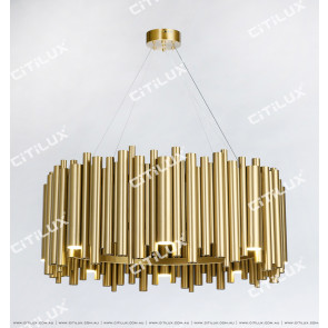 Stainless Steel Titanium Gold Texture Modern Large Chandelier Citilux