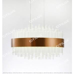 Modern Stainless Steel Transparent Glass Chandelier Round Citilux