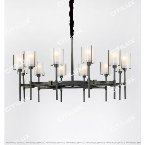 All-Copper American Glass Single-Tier Chandelier Large Citilux