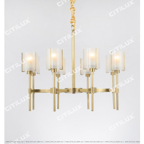 All-Copper American Glass Single-Tier Chandelier Small Citilux