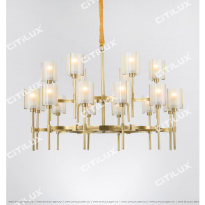 Copper American Glass Double Chandelier Citilux