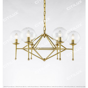 Copper Geometric Glass Chandelier Small Citilux