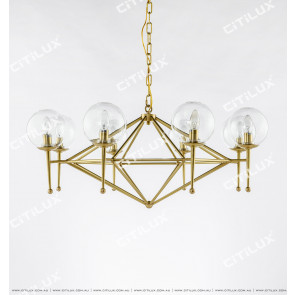 Full Copper Geometric Glass Chandelier Large Citilux