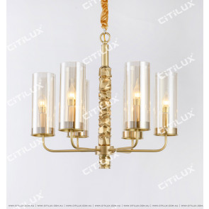 All-Copper Shaped Glass Single Tier Pendant Light 620mm Citilux