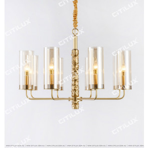 All-Copper Shaped Glass Single Tier Pendant Light 850mm Citilux