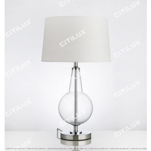 Transparent Glass Fabric Table Lamp Citilux