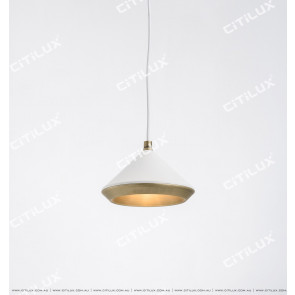 White + Copper Cone Cover Texture Single Head Chandelier Citilux