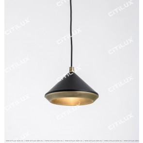 Black + Copper Cone Cover Texture Single Chandelier Citilux