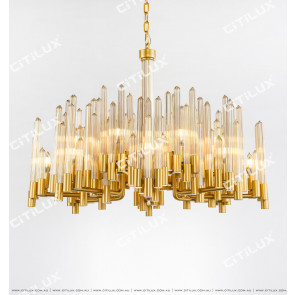 Striped Plum Glass Rod Bronze Chandelier Citilux