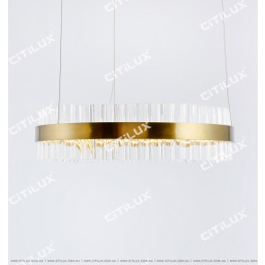 Stainless Steel Ring Glass 600Mm Gold Colour Chandelier Citilux